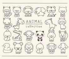 動物のセット 線画 ...