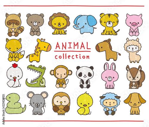 Obraz na plátně 動物のセット 手描き風