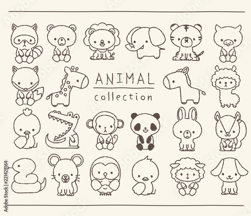 Photographie 動物のセット 線画 手描き風