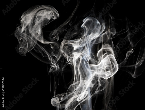 Foto op Canvas Rook Smoke on black background