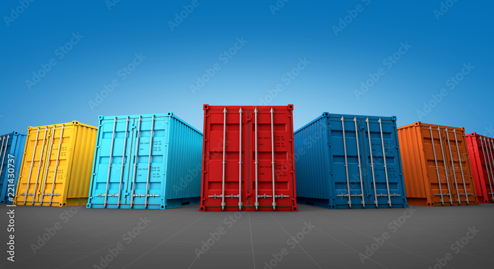 Fototapety, obrazy: Stack of containers box, Cargo freight ship for import export 3D