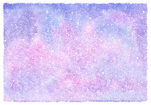 Winter Watercolor Abstract Background With Falling Snow Splash Texture. Christmas, New Year Hand Drawn Template With Rough Edges. White Snowflakes, Shades Of Blue And Pink Watercolour Stains.