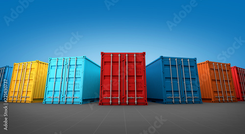 Obraz Stack of containers box, Cargo freight ship for import export 3D - fototapety do salonu