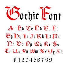 Classic Gothic Font, Set Of Ancient Letters Isolated On White