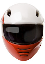 Modern Motorcycle Helmet Frontal View Isolated On White With Clipping Path