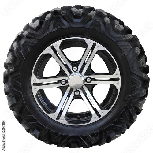 The wheel of a modern ATV.