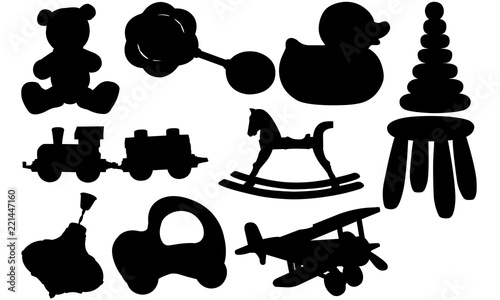 Baby Toys Silhouette Svg Cricut Clipart Vector Eps Cut File Png Ai Teddy Bear Rattle Duck Rocking Horse Train Plane Top Car Buy This Stock Vector And Explore Similar Vectors At