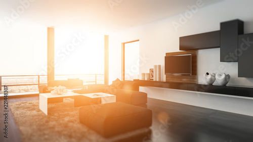 Obraz Golden glow of the sun in a modern den - fototapety do salonu