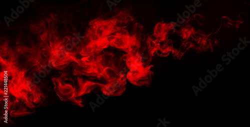 Poster Fumee red smoke shapes isolated on dark background