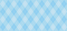 Argyle Vector Pattern. Light Blue With Thin White Dotted Line. Seamless Geometric Background For Fabric, Textile, Men's Clothing, Wrapping Paper. Backdrop For Little Man  (baby Boy) Party Invite Card