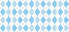 Argyle Vector Pattern. Light Blue And White Squares With Thin Black Dotted Line. Seamless Geometric Background For Men's Clothing, Wrapping Paper. Backdrop For Little Man (baby Boy) Party Invite Card