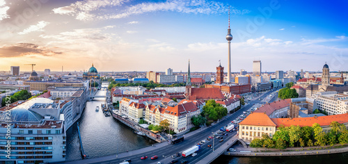 panoramic view at the berlin city center Canvas Print