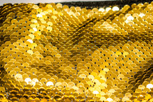 Paillette Sequins Yellow Gold Color To Decorate Handbags Clothes Golden Background Shine For Design Backdrop