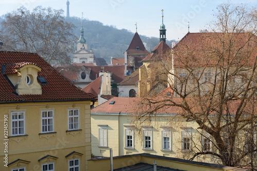 Staande foto Praag View from Charles Bridge toward Petrin Hill, Prague, Czech Republic.