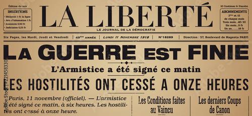 Obraz Centenaire 14-18 - Journal Armistice - fototapety do salonu
