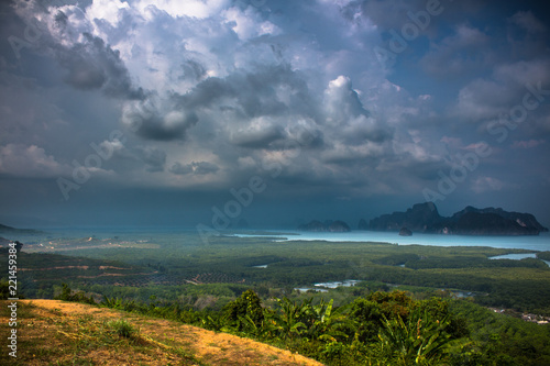 Spoed Foto op Canvas Zee zonsondergang landscape with blue sky and clouds