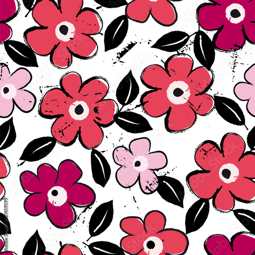 abstract flower pattern background, with strokes and splashes, seamless