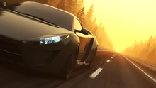 Fast, Slick Supercar Endless Driving Through A Coniferous Forest During Sunset.