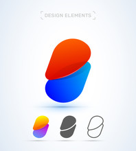 Vector Abstract Letter B Logo Design Elements. Material Design, Transparent, Origami, Flat And Line Art Style Collection