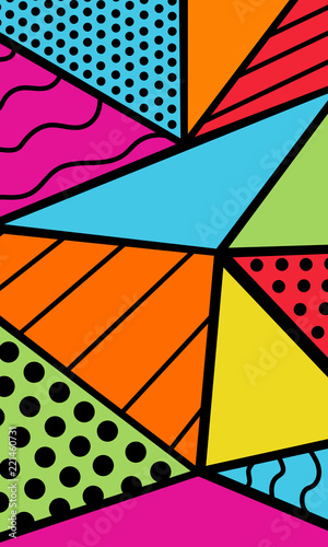90s decade theme abstract geometric background bright colors Fototapet