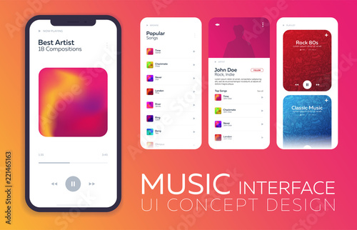 Plakaty atrybuty muzyczne  mobile-ui-design-concept-music-player-interface-vector-illustration