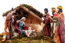 Christmas Nativity Scene With Holy Family In The Hut And The Three Wise Men, Isolated On White Background