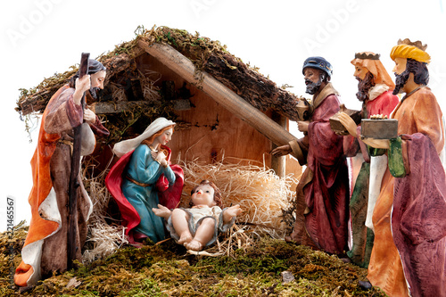 Fotografie, Obraz Christmas nativity scene with Holy Family in the hut and the three wise men, iso