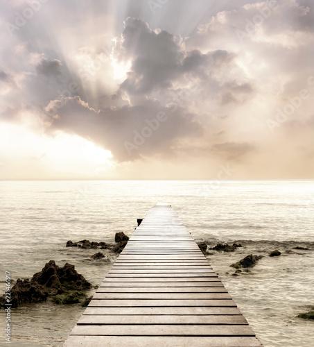 Foto-Schiebegardine Komplettsystem - Wood bridge on the sea which has walk way for travel with beautiful sky and sunshine background. (von nicemyphoto)