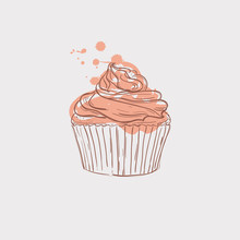 Cupcake Sketch Theme Vector Ar...