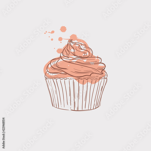 Photo cupcake sketch theme vector art illustration