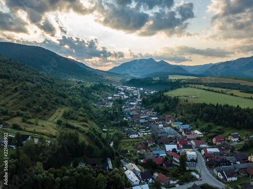 In de dag Khaki drone image. aerial view of rural mountain area in Slovakia, villages of Zuberec and Habovka from above