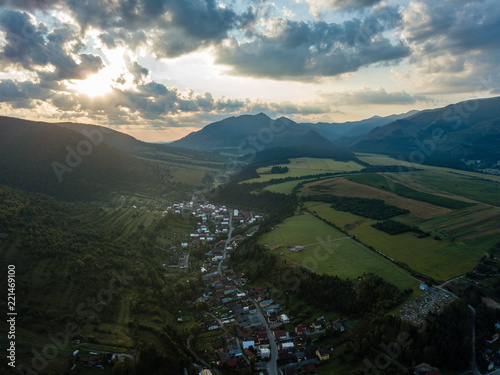 Foto op Aluminium Zwart drone image. aerial view of rural mountain area in Slovakia, villages of Zuberec and Habovka from above