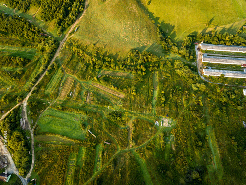 drone image. aerial view of rural mountain area in Slovakia, villages of Zuberec and Habovka from above