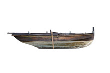 Brown Wooden Fishing Boat Isolated On White Background