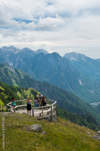 Wall Murals Nepal Tourists visiting the beautiful Albanian Alps mountain