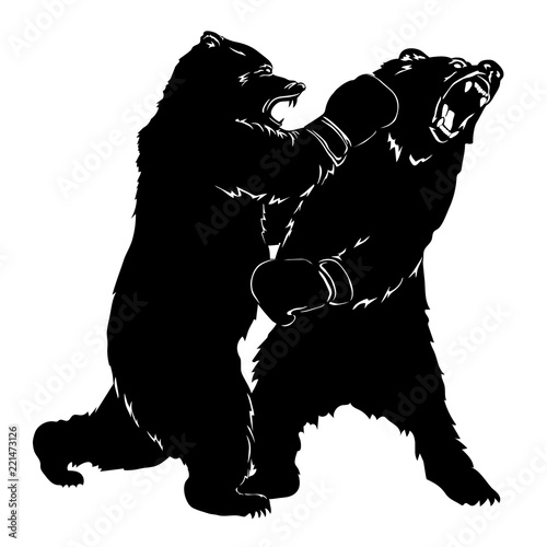 two black bears fighting. silhouettes of a wild animals in boxing gloves.  growling beasts. art design for sport event. vector illustration stock  vector | adobe stock  adobe stock