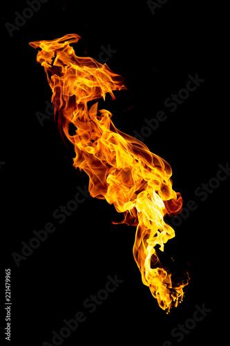 Fotografiet  Burning flame isolated on black