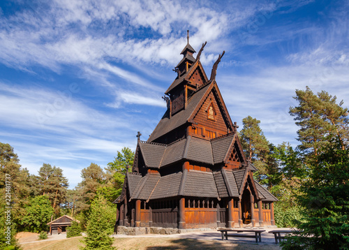 Photo  Gol Stave Church Folks museum Bygdoy peninsula Oslo Norway Scandanavia