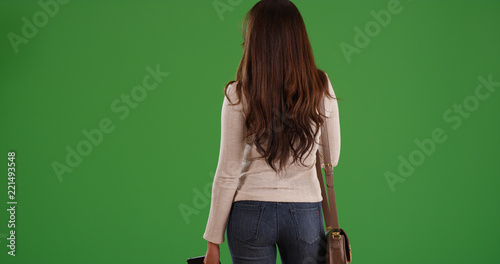 Fotografia, Obraz  Rear view of attractive Latina woman with long brown hair on green screen