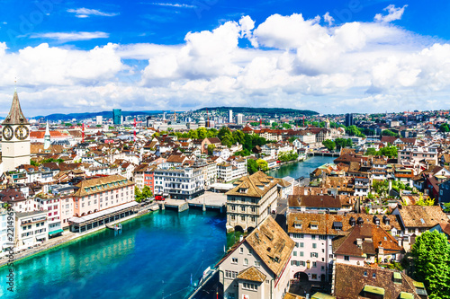 Fototapety, obrazy: Aerial view of historic Zurich city center and river Limmat