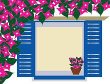 Traditional Greek Blue Window ...