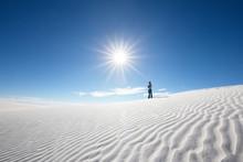 Man In Solitude In Desert