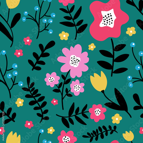 Seamless colorful floral pattern with wild flowers on dark green background. Simple scandinavian style. Vector illustration