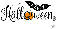 Happy Halloween Lettering Calligraphy Logo With Pumpkin, Bat And Spider Web