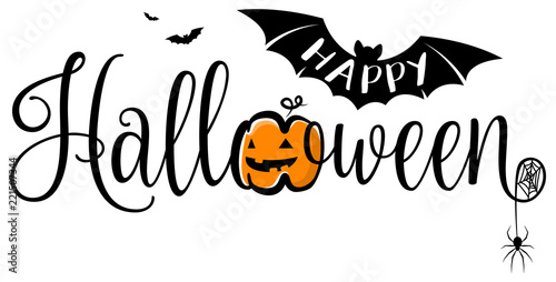 Fototapeta happy halloween lettering calligraphy logo with pumpkin, bat and spider web obraz
