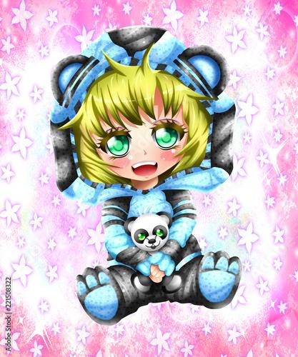 Kawaii little girl, anime chibi syle. Canvas Print