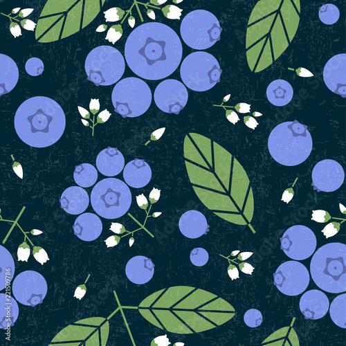 Leinwand Poster Blueberry seamless pattern