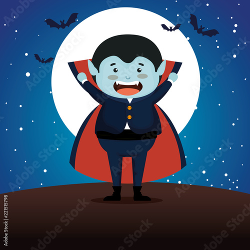 Fotografie, Obraz  boy dressed up as a count dracula