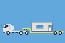 Side View Of Trailer Transporting Container Office Construction Site, Vector Illustration