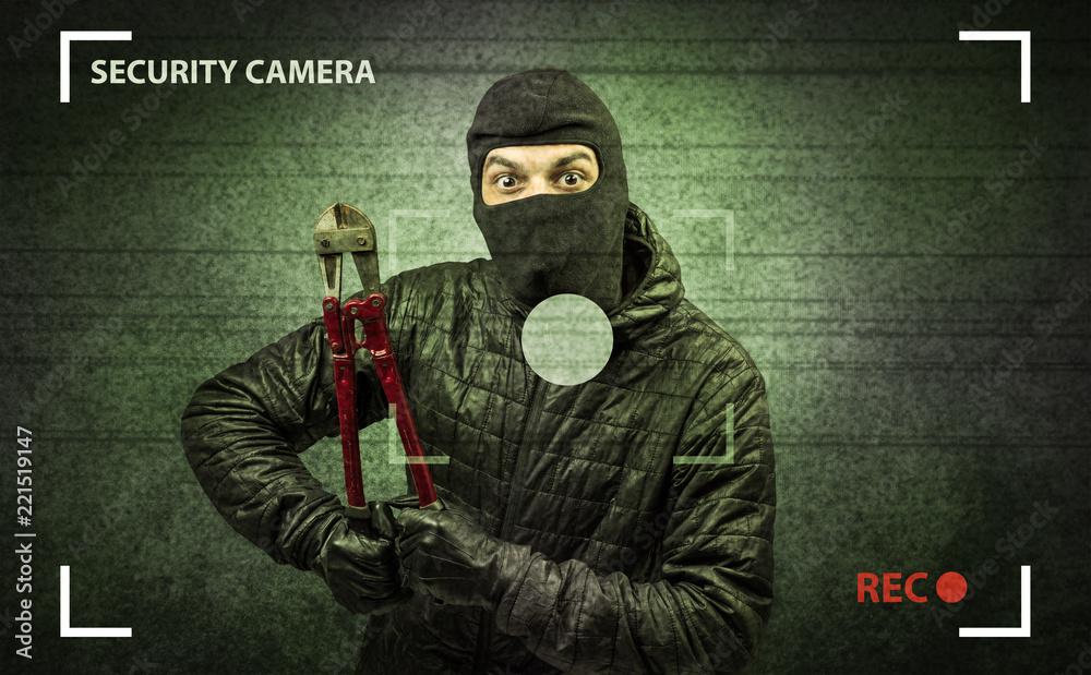 Fototapeta Caught burglar by house camera in action.